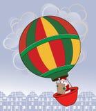 Kerstman in hete luchtballon Royalty-vrije Stock Afbeelding