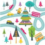 Kerstman, Kerstboom en windende wegenaf:drukken Stock Afbeeldingen