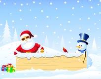 Kerstman, Kerstmisvogel en Sneeuwman met Kerstmis Bord Stock Foto