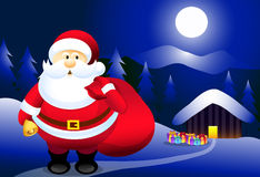 Kerstman & Kerstnacht Royalty-vrije Stock Foto