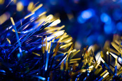 Kerstman Klaus, hemel, vorst, zak Achtergrond met Kerstmisdecoratie Royalty-vrije Stock Fotografie