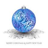 Kerstman Klaus, hemel, vorst, zak Blauw Kerstmisstuk speelgoed met het zilveren ornament Gesierde schaduw Stock Foto