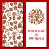 Kerstman Klaus, hemel, vorst, zak Comfortabele Kerstmis gingerbred groeten Stock Foto's