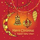 Kerstman Klaus, hemel, vorst, zak De stijl van de krabbel Stock Afbeelding