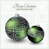 Kerstman Klaus, hemel, vorst, zak Groen Kerstmisspeelgoed met het zilveren ornament Stock Foto