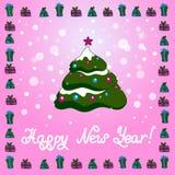 Kerstman Klaus, hemel, vorst, zak Kerstmisachtergrond met Kerstboom en gift Stock Afbeelding