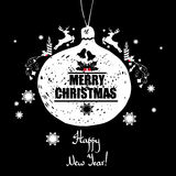 Kerstman Klaus, hemel, vorst, zak Met een inschrijvings Gelukkig Nieuwjaar! Kleurrijke ins royalty-vrije illustratie