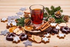 Kerstman Klaus, hemel, vorst, zak Nieuwjaar` s groeten royalty-vrije stock foto
