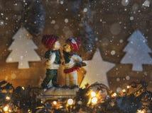 Kerstman Klaus, hemel, vorst, zak Nieuwjaar` s stemming Royalty-vrije Stock Afbeelding