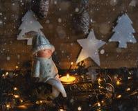 Kerstman Klaus, hemel, vorst, zak Nieuwjaar` s stemming Stock Afbeelding