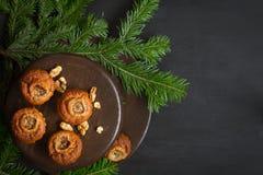 Kerstman Klaus, hemel, vorst, zak Ruimte voor tekst Stock Fotografie