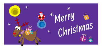Kerstman Klaus, hemel, vorst, zak Santa Claus en rendier met giften Royalty-vrije Stock Afbeeldingen