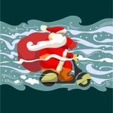 Kerstman Klaus op een bromfiets Stock Foto's