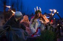 Kerstman Lucia Celebration Royalty-vrije Stock Foto