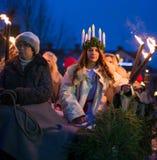 Kerstman Lucia Celebration Stock Afbeelding