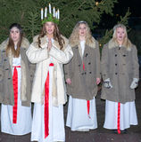 Kerstman Lucia Celebration Royalty-vrije Stock Foto's