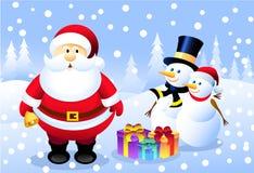 Kerstman, M. & Mevr. Snowman Stock Illustratie