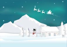 Kerstman met dageraad op hemelachtergrond Het document van het Kerstmisseizoen art. vector illustratie