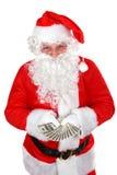 Kerstman met dollars Royalty-vrije Stock Foto