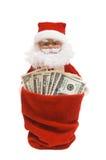 Kerstman met Dollars Stock Foto's