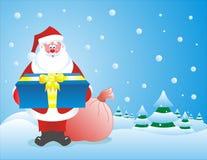 Kerstman met een grotere gift Stock Afbeeldingen