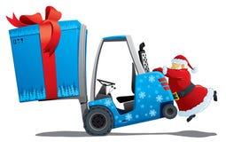 Kerstman met een Kerstmislader Royalty-vrije Stock Afbeelding