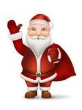 Kerstman met een zak van giften achter de rug die zijn hand golven Stock Foto