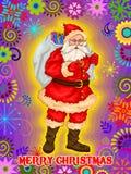 Kerstman met gift op Vrolijke de vieringsachtergrond van de Kerstmisvakantie Stock Afbeelding