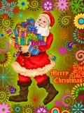Kerstman met gift op Vrolijke de vieringsachtergrond van de Kerstmisvakantie Royalty-vrije Stock Fotografie