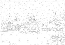Kerstman met giften in een schoorsteen stock illustratie