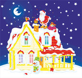 Kerstman met giften op een housetop vector illustratie