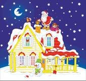 Kerstman met giften op een housetop royalty-vrije illustratie