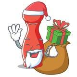 Kerstman met het karakterbeeldverhaal van de giftpepermolen vector illustratie