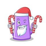 Kerstman met het karakterbeeldverhaal van de suikergoed purper theepot Royalty-vrije Stock Foto's