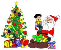 Kerstman met kind en Kerstmisboom royalty-vrije illustratie