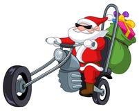 Kerstman met motorfiets Stock Foto's
