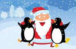 Kerstman met pinguïn Stock Foto's
