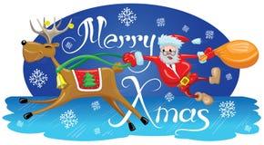 Kerstman met rendier Stock Afbeelding