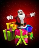 Kerstman met stelt voor Stock Foto's