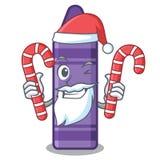 Kerstman met suikergoed purper kleurpotlood in een mascottezak vector illustratie