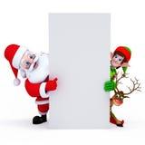 Kerstman met teken Royalty-vrije Stock Foto's