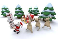 Kerstman met zijn rendier royalty-vrije illustratie
