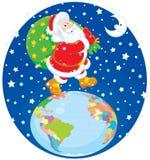 Kerstman met zijn zak van giften Stock Afbeeldingen