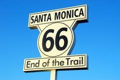 Kerstman Monica Route 66 Stock Foto's