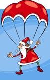 Kerstman op de illustratie van het valschermbeeldverhaal Stock Afbeelding