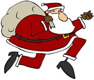 Kerstman op de looppas stock illustratie