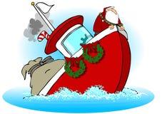 Kerstman op een Dalende Boot Stock Fotografie