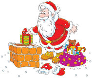 Kerstman op een housetop stock illustratie