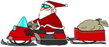 Kerstman op een Sneeuwscooter vector illustratie