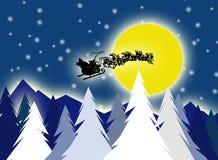 Kerstman op hemel Stock Foto